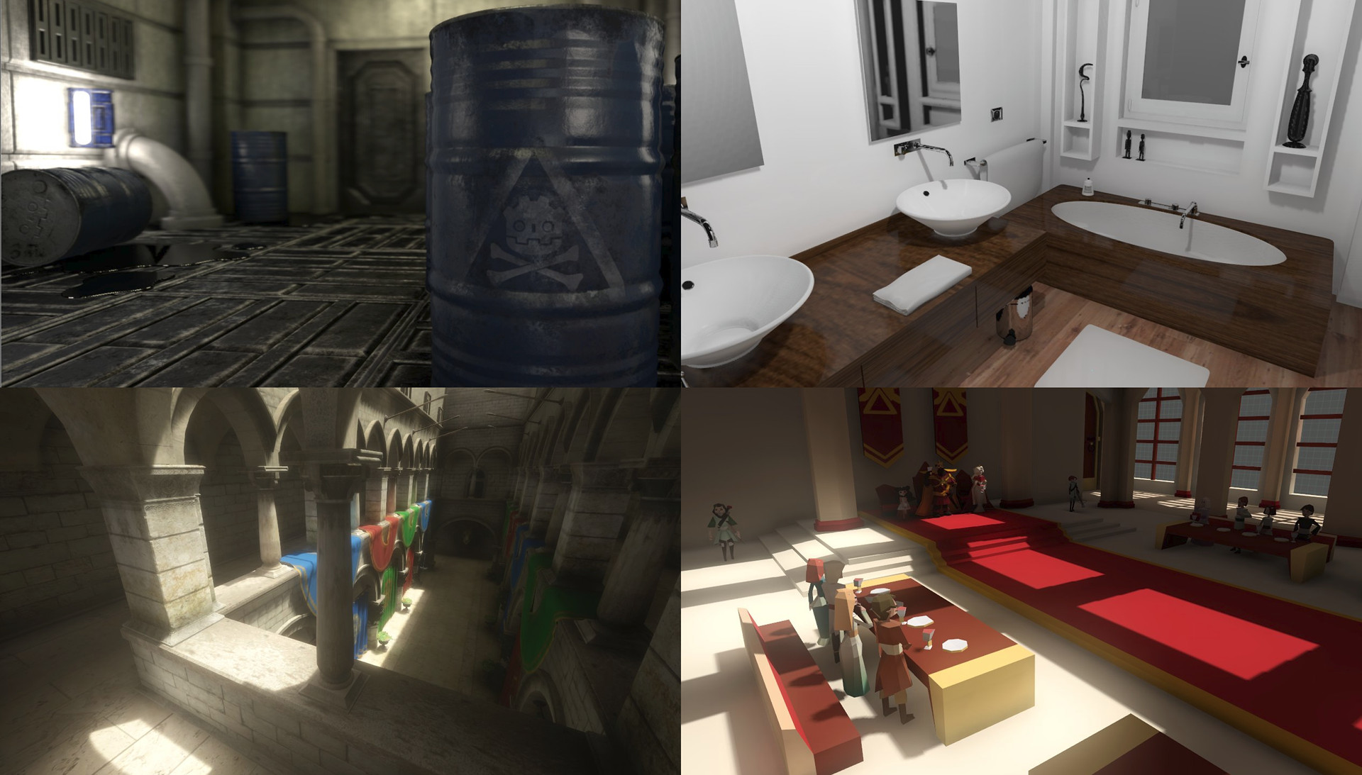 Examples of 3D scenes with PBR