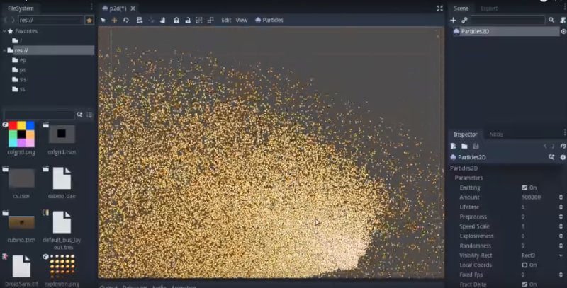 Editor screenshot with 100k particles
