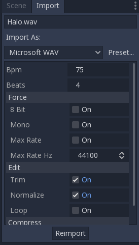 BPM and Beats import options for audio files
