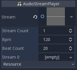 AudioStreamPlaylist configuration in inspector (no streams)