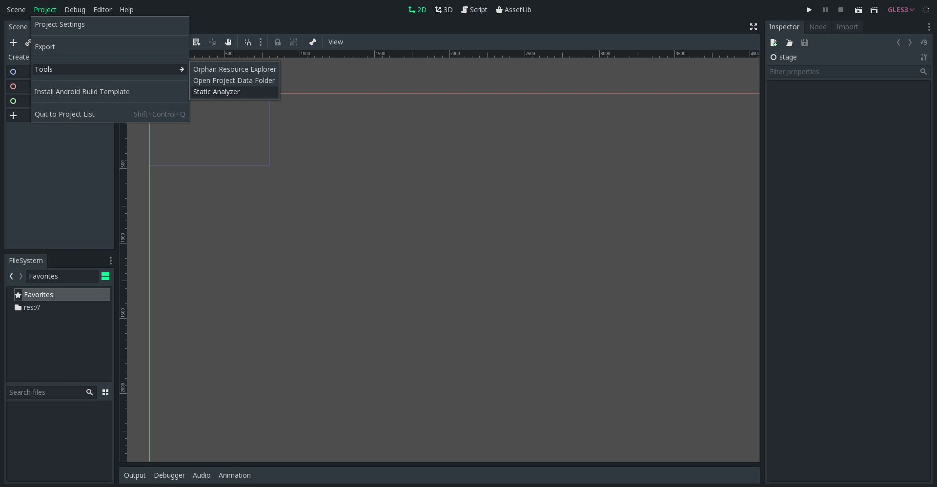 Static Analyzer menu entry in the editor