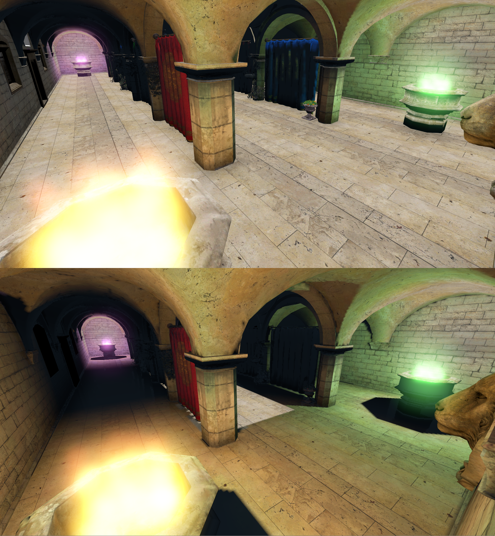 Sponza scene without and with occlusion for direct lighting