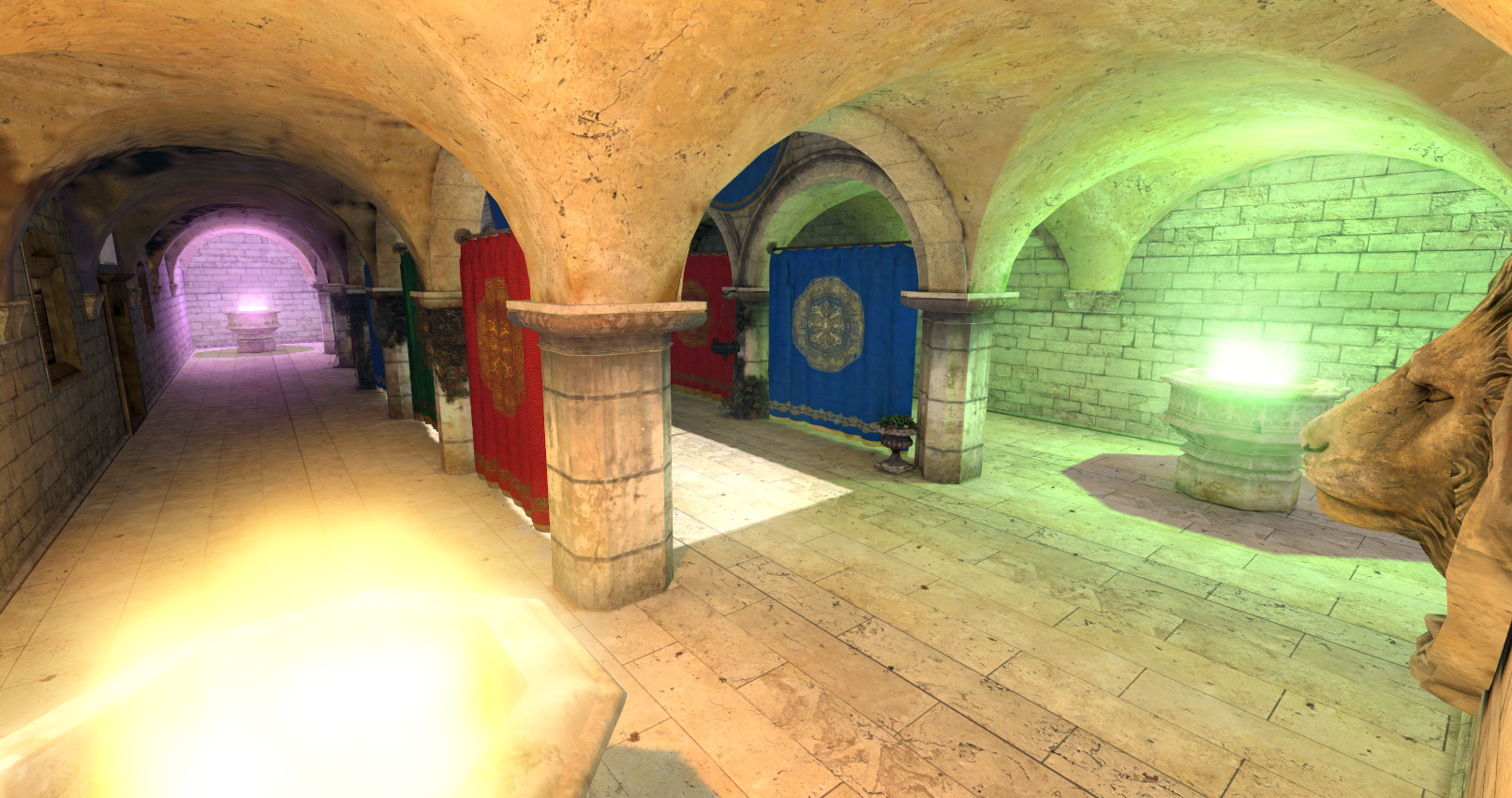 Sponza scene with both direct and indirect lighting