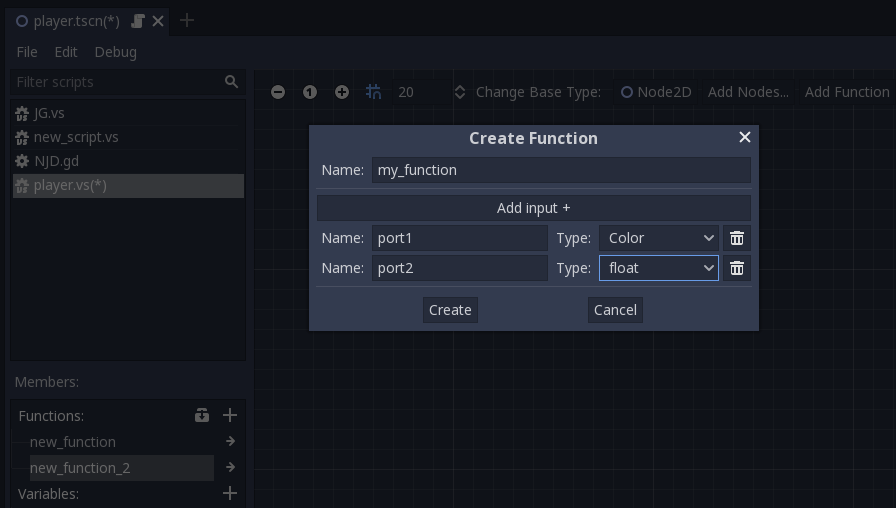 Demo of helper function creation dialog