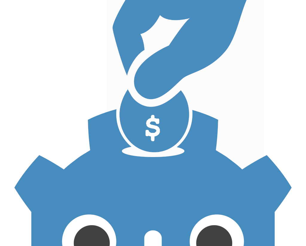 Image of the Godot icon as a piggy bank, inserting a coin