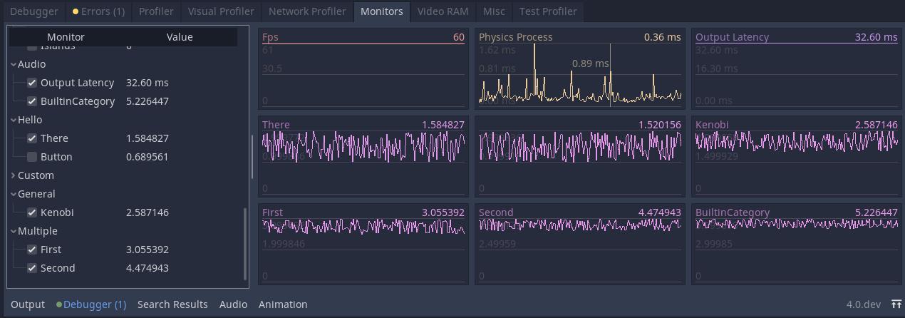 Custom monitors in the debugger