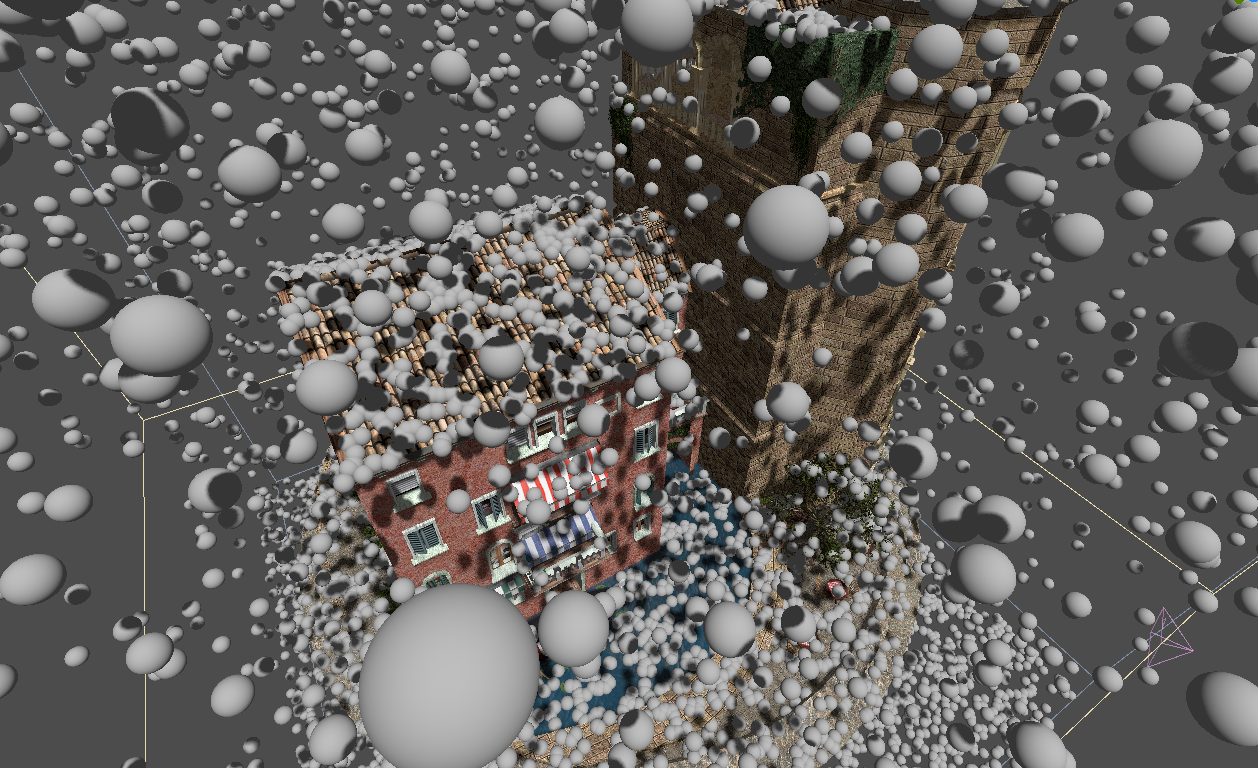 Image of particles falling and colliding with a building