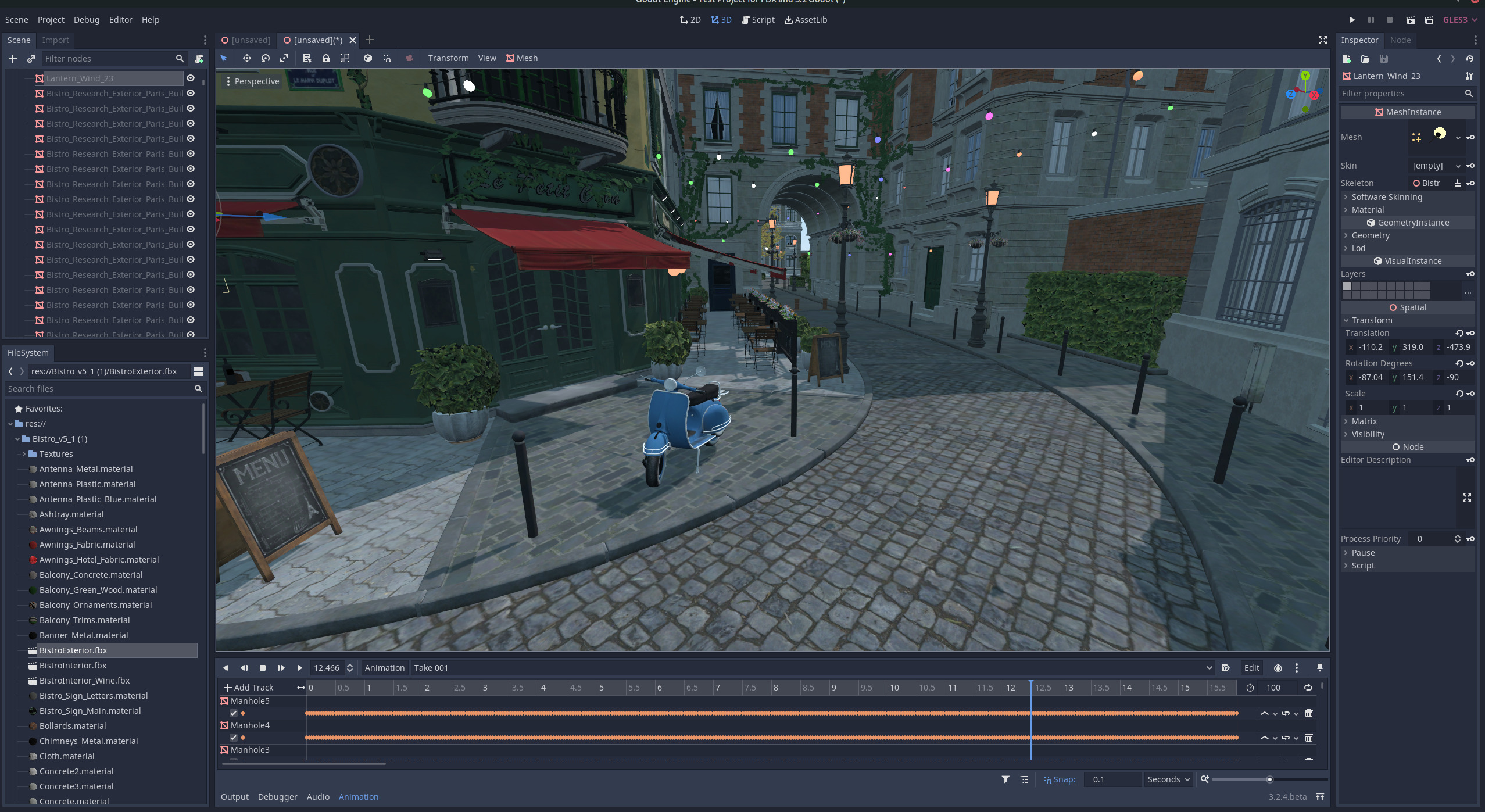 Image of an imported FBX file of a daylight city street in Godot