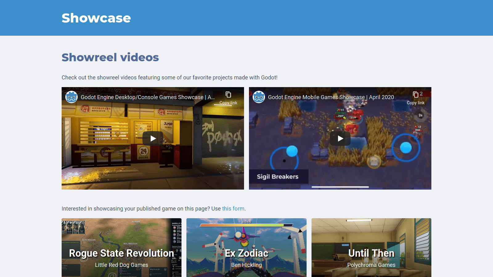 The new Showcase page, featuring videos and projects