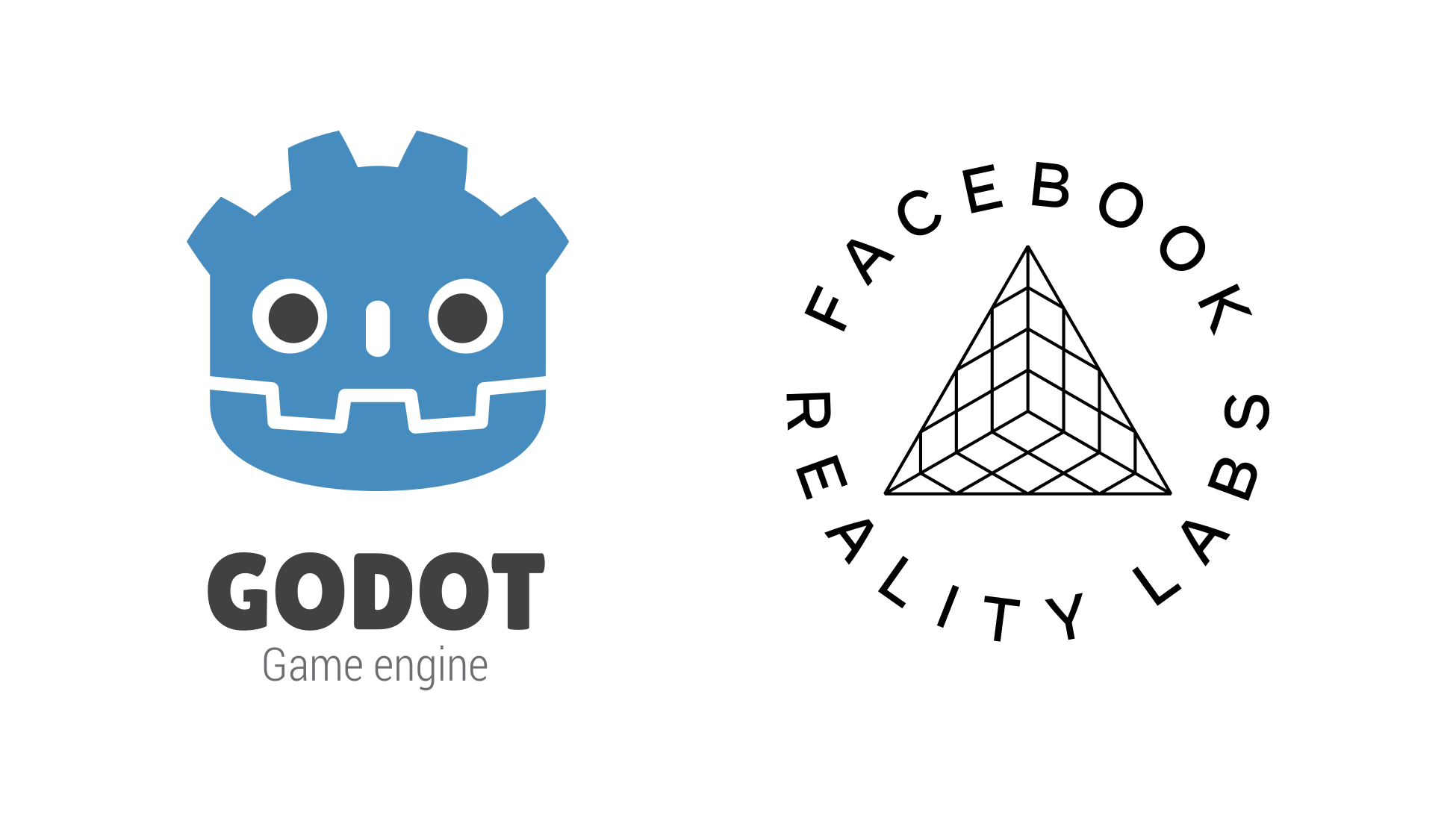 Godot logo paired with Facebook Reality Labs logo