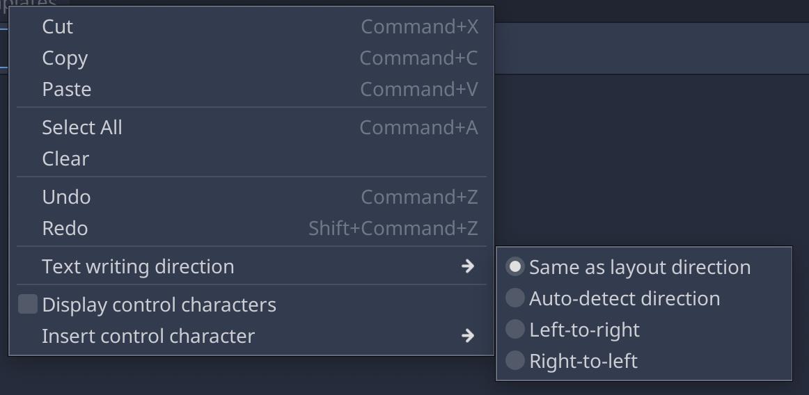 BiDi options in context menu