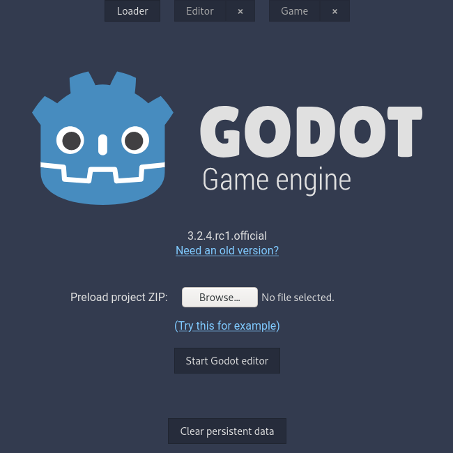 Web Editor with Godot 3.2.4 RC