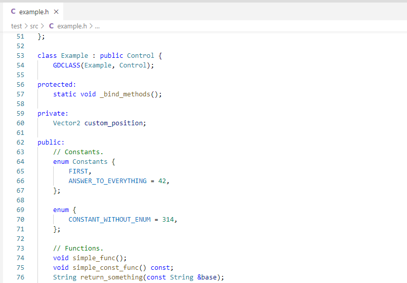 GDExtension sample code C++ based example of GDExtension that shows the similarity with Godot's core modules.
