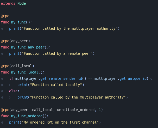 The new `@rpc` syntax in Godot 4.0